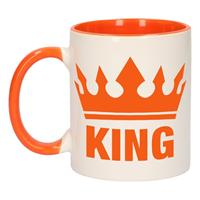 Shoppartners Koningsdag King mok/ beker oranje wit 300 ml Multi