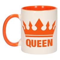 Shoppartners Koningsdag Queen mok/ beker oranje wit 300 ml Multi