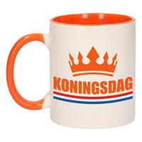 Shoppartners Koningsdag mok/ beker oranje wit 300 ml Multi