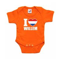 Shoppartners Oranje I love Willem rompertje baby Oranje