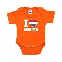Shoppartners Oranje I love Maxima rompertje baby Oranje