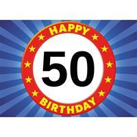 Shoppartners 50 jaar verjaardagskaart/ansichtkaart/wenskaart Happy Birthday Multi
