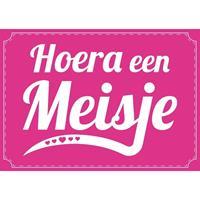 Shoppartners Hoera een meisje ansichtkaart/wenskaart geboren/kraamcadeau Roze