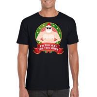 Shoppartners Foute Kerst t-shirt zwart Im too sexy for this shirt heren Zwart