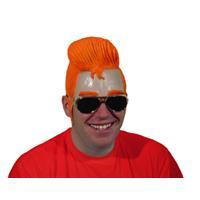 Eigen merk Pruik latex vetkuif oranje