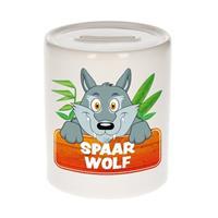 Kinder spaarpot met spaar wolf opdruk - keramiek - wolven spaarpotten