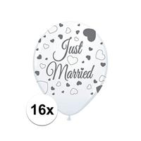 2x Just Married ballonnen 8st. Wit