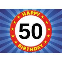 Shoppartners 50 jaar stopbord thema stickers 7,5 x 10,5 cm Multi