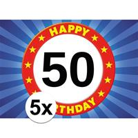 Shoppartners 5x 50 jaar stopbord thema stickers 7,5 x 10,5 cm Multi