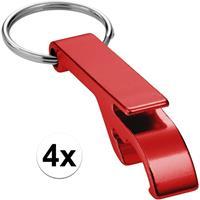 4x Flesopener sleutelhanger rood Rood
