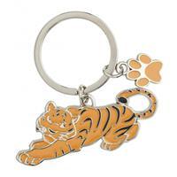 Metalen tijger sleutelhanger 5 cm Multi