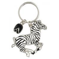 Metalen zebra sleutelhanger 5 cm Multi