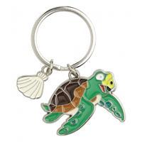 Metalen zeeschildpad sleutelhanger 5 cm Multi