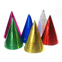 20x Gekleurde papieren feesthoedjes holografisch Multi