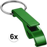 6x Flesopener sleutelhanger groen Groen