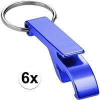 6x Flesopener sleutelhanger blauw Blauw