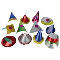 10x Papieren glitter feesthoedjes voor kids