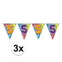 3x Mini vlaggenlijn / slinger verjaardag versiering 5 jaar Multi