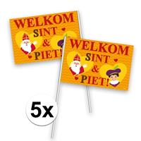 Folat 5x Welkom Sint en Piet zwaaivlaggetje Multi