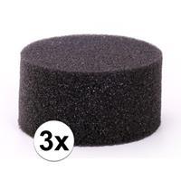 3 stuks zwarte schmink / make up sponsjes rond Zwart