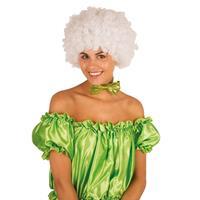 Clownspruik met witte krulletjes verkleed accessoire Wit