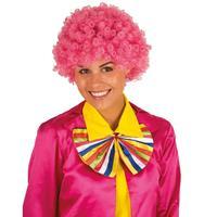 Clownspruik met roze krulletjes verkleed accessoire Roze