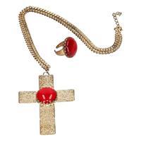 Sinterklaas verkleed sieraden set ketting en ring voor heren