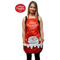 Kerstkleding schort Merry Christmas Rood