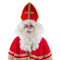 Luxe Sinterklaas pruik met baard en snor Wit