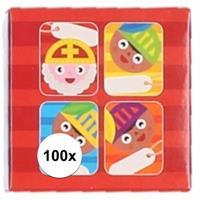 Sint kado stickers cartoon 100 stuks Multi
