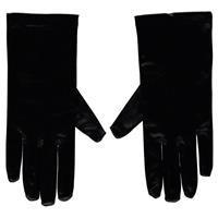Zwarte gala handschoenen kort van satijn 20 cm Zwart