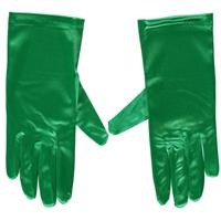 Groene gala handschoenen kort van satijn 20 cm Groen