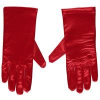 Rode gala handschoenen kort van satijn 20 cm Rood