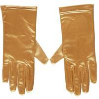 Gouden gala handschoenen kort van satijn 20 cm Goudkleurig
