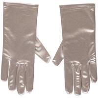 Zilveren gala handschoenen kort van satijn 20 cm Zilver