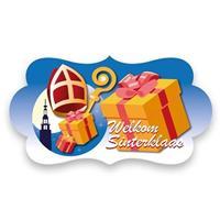 Feest bord Welkom Sinterklaas Blauw