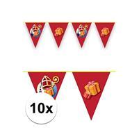 10x Vlaggenlijnen versiering Sinterklaas 6 meter Rood