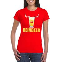 Shoppartners Foute Kerst t-shirt Reinbeer rood voor dames