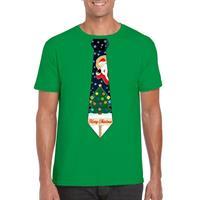 Shoppartners Fout kerst t-shirt groen met kerstboom stropdas voor heren