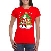 Shoppartners Foute Kerst t-shirt kerstman en rendier Rudolf rood dames Rood
