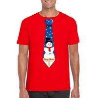 Shoppartners Fout kerst t-shirt rood met sneeuwpop stropdas voor heren