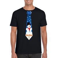 Shoppartners Fout kerst t-shirt zwart met sneeuwpop stropdas voor heren