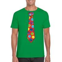 Shoppartners Kerst t-shirt stropdas met kerstballen print groen voor heren