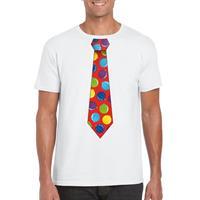 Shoppartners Kerst t-shirt stropdas met kerstballen print wit voor heren