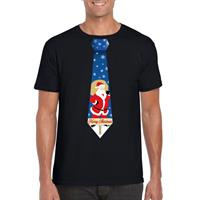 Shoppartners Foute Kerst t-shirt stropdas met kerstman print zwart voor heren
