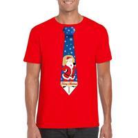 Shoppartners Foute Kerst t-shirt stropdas met kerstman print rood voor heren