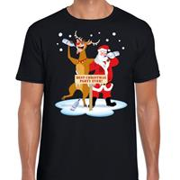 Shoppartners Foute Kerst t-shirt dronken kerstman en Rudolf zwart heren Zwart