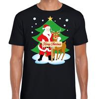 Shoppartners Foute Kerst t-shirt kerstman en rendier Rudolf zwart heren Zwart