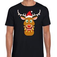 Shoppartners Foute Kerst t-shirt rendier Rudolf rode kerstmuts zwart heren Zwart