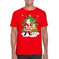Shoppartners Foute Kerst t-shirt kerstman en rendier Rudolf rood heren Rood